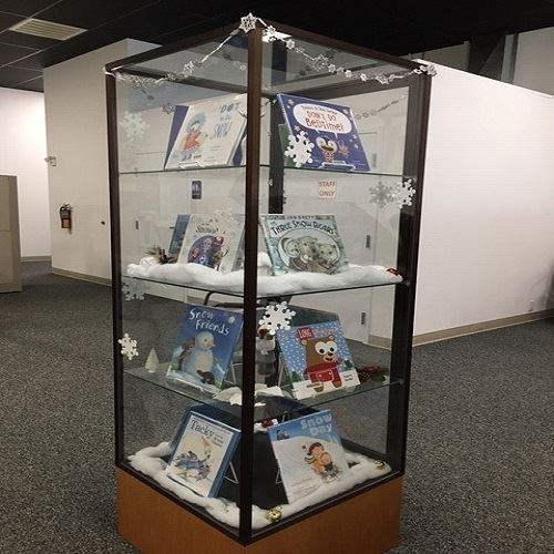 Display cabinet with snow-themed books
